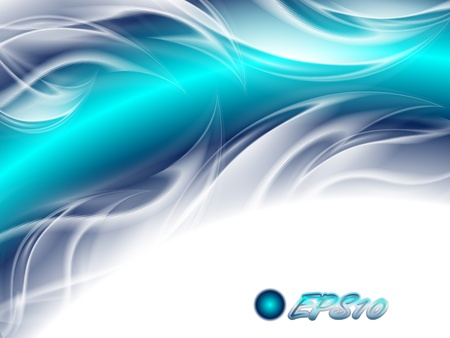 turquoise swirl: Abstract background blue arc with white waves