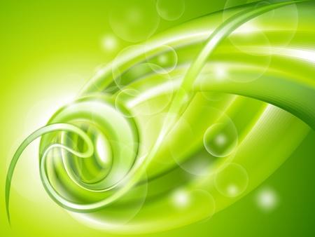 추상 녹색 소용돌이 배경 일러스트