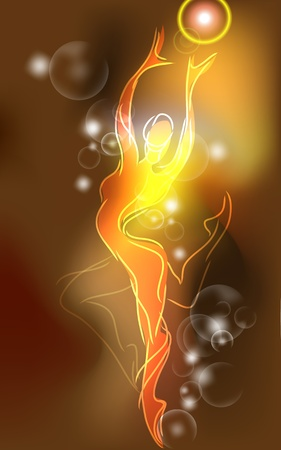 theatrical dance: Neon ballerina in sketch style Illustration