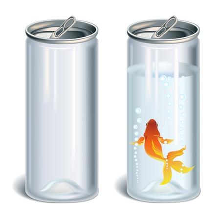 lata de refresco: Botellas de plástico transparente vacía y con el agua y los peces de oro Vectores