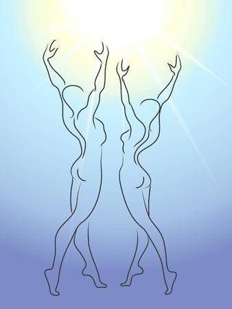 Vrouw en man verheerlijken zon