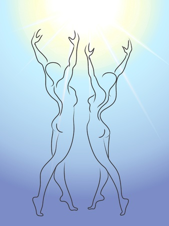 Woman and man glorify sun Vector