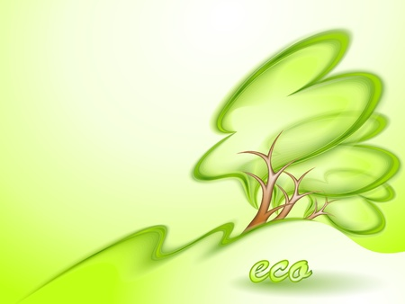 Eco background with green tree Vector