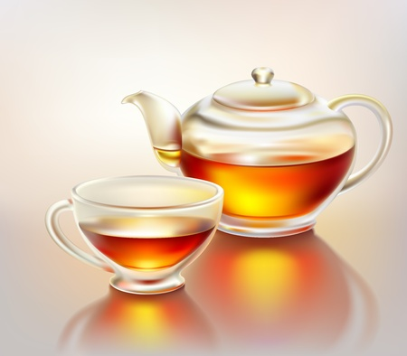 Glass teapot and cup with tea in morning sunlight Vector