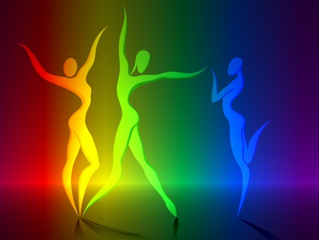 female athlete: Abstract silhouette of different color dancerss