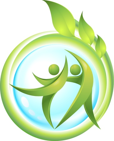 friendly people: Eco-icon with green dancers