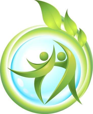 earth friendly: Eco-icono con bailarinas verdes Vectores