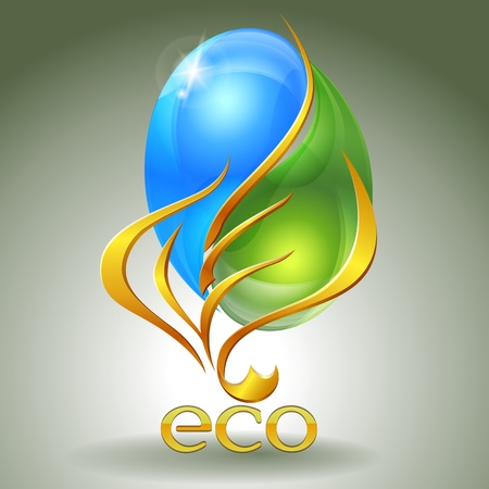 Eco-icon with yin-yang and gold leaf Vector