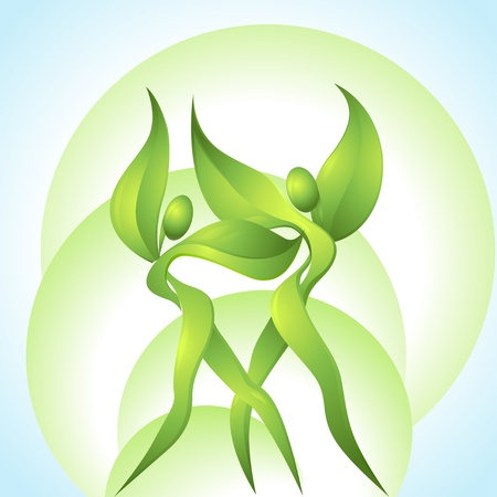 Eco-icon with green dancers Stock Vector - 13482247