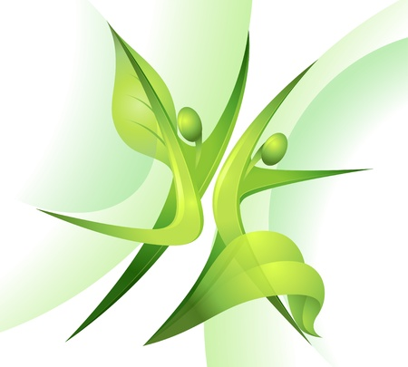 Eco-icon with green dancers Stock Vector - 13464583
