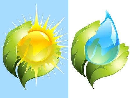 conservacion del agua: Manos verdes mantener el agua y el sol