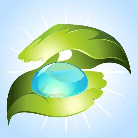 keeping: Green hands keeping drop of water
