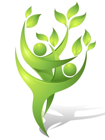 energy balance: Eco-icon with green dancers
