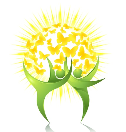 sun protection: Bailarines verdes con el sol y las mariposas Vectores