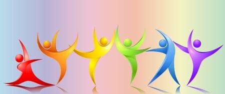 partners: Absract rainbow people dancing ballet Illustration