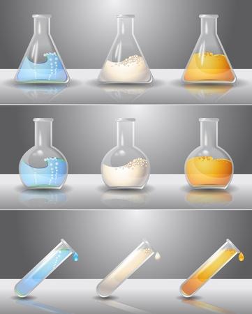 probeta: Frascos de laboratorio con líquidos Vectores