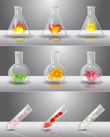 material de vidrio: Frascos de laboratorio con diferentes cosas en el interior