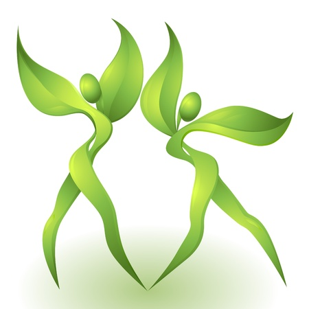 Eco-icono con bailarinas verdes Vectores