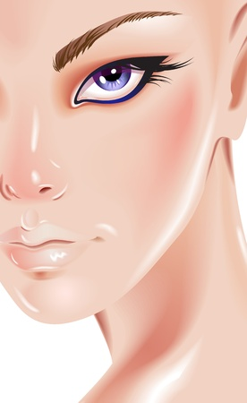 Face of beautiful woman Vector