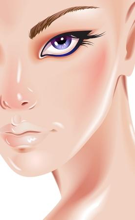 maquillaje de fantasia: Rostro de mujer hermosa Vectores