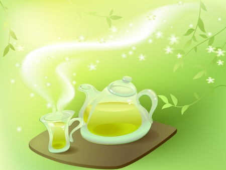 herb tea: Green tea in the morning Illustration
