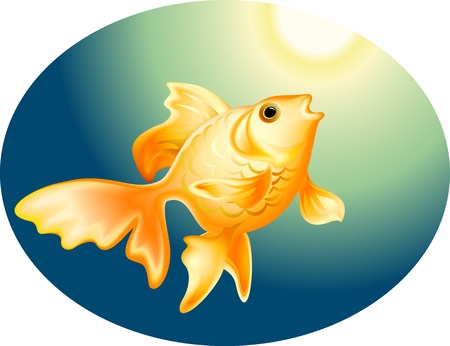Gold fish deep in the sea Stock Vector - 13548080