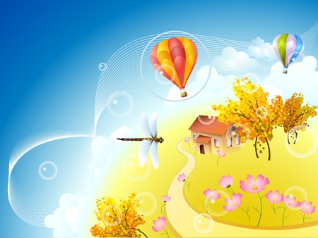 Autumn planet with dragonfly and balloons Vector