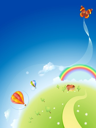 Summer planet with a rainbow and balloons Vector
