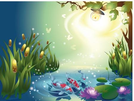 lirio acuatico: Estanque con peces en la noche Vectores