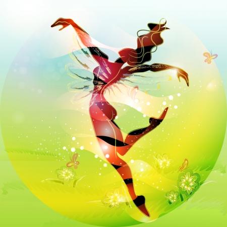 Jovem mulher de conto de fadas de primavera dançando na primavera