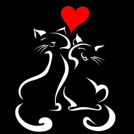 couple dating: Happy cats in love Illustration