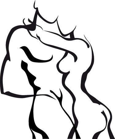 nude man: Abstract sketch couple in love