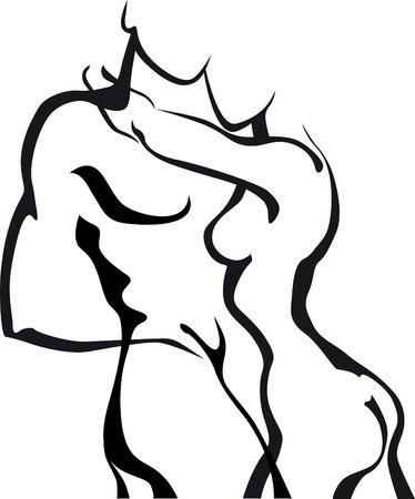 erotico: Pareja boceto abstracto en el amor
