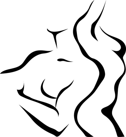 woman nude standing: Abstract sketch of couple