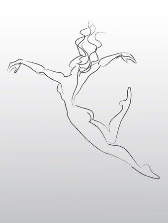 Sketch of flying and dancing woman