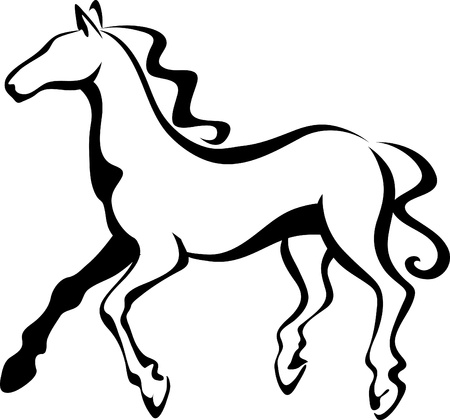 line drawings: Fast horse Illustration