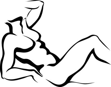 Sketch of lying man Illustration