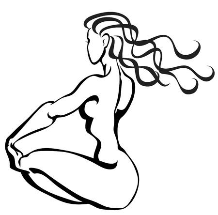 sit shape: Sketch of sitting woman