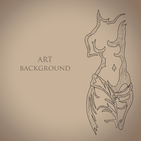 torso: Sketch of ancient statue Illustration