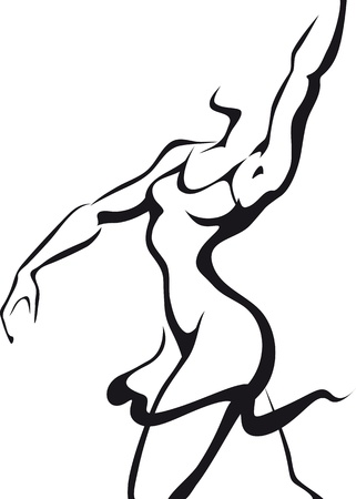 nude pretty girl: Dancing woman Illustration