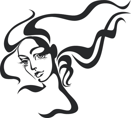 black and white line drawing: Beautiful woman face Illustration