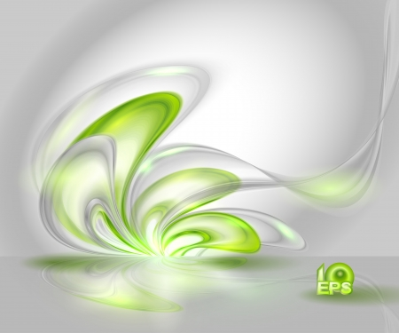 Abstract gray waving background with green elements Illustration