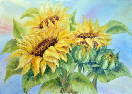 sunflower drawing: Sunflowers,  oil painting on canvas