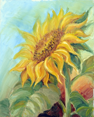 hand painting: Sunflower,  oil painting on canvas Stock Photo