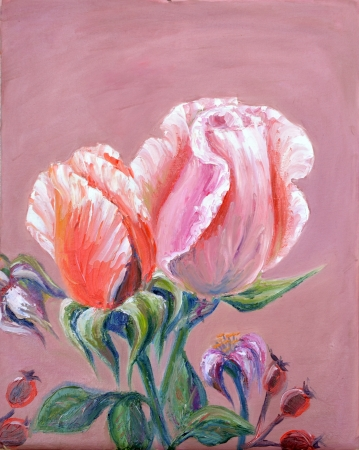Two pink roses,  oil painting on canvas photo