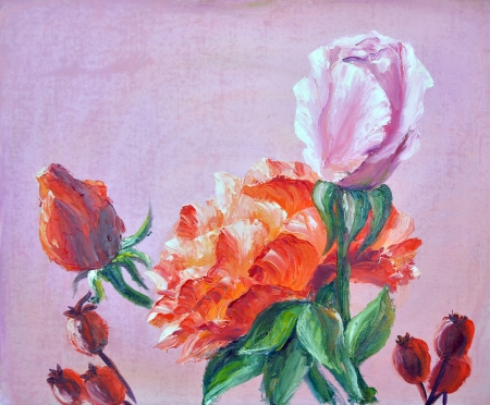 Roses,  oil painting on canvas photo