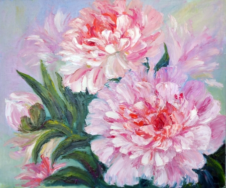 hand painting: Peonies, oil painting on canvas Stock Photo