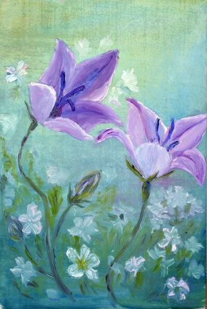 oil on canvas: Bellflowers, oil painting on canvas Stock Photo