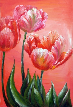 Oil Painting, Red tulips