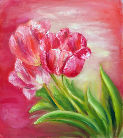 Oil Painting red tulips